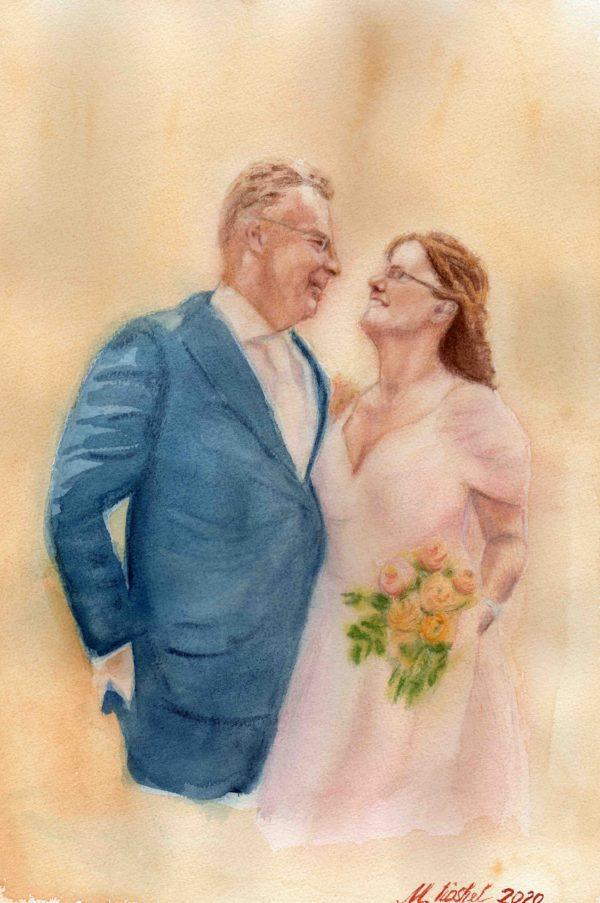 Hochzeitportrait, Aquarell, 26x38
